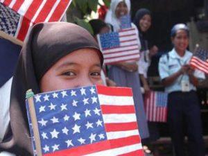 muslim girl american flag